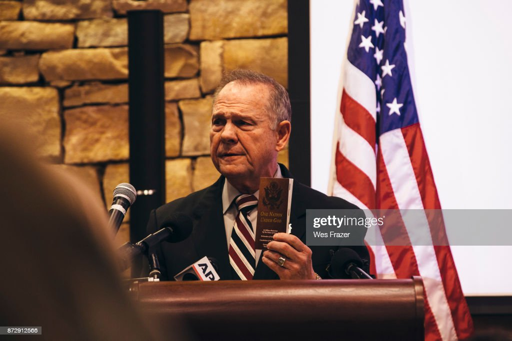 Republican candidate for U.S. Senate Judge Roy Moore speaks during a mid-Alabama Republican Club's Veterans Day event on November 11, 2017 in Vestavia Hills, Alabama. This week Moore's campaign was brought under scrutiny, after being accused of sexual misconduct with underage girls when he was in his 30's.