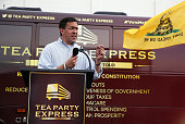 Republican candidate for US Senate Mississippi State Sen Chris McDaniel speaks during a Tea Party Express campaign event at outside of a Hobby Lobby...
