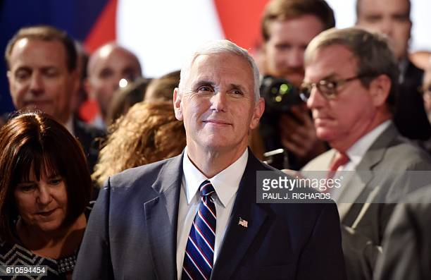 Republican candidate for Vice President Mike Pence looks on before the first presidential debate at Hofstra University in Hempstead New York on...