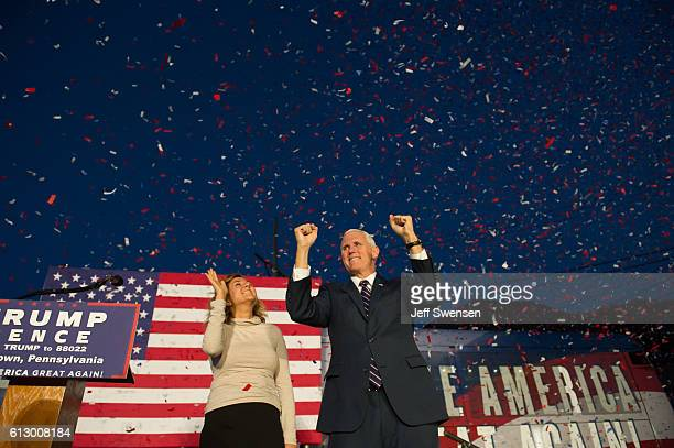 Republican candidate for Vice President Mike Pence speaks to close to 250 supporters at a rally at JWF Industries in Johnstown Pennsylvania on...