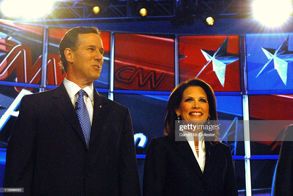Republican candidates (L to R) former U.S. Sen. Rick Santorum (PA) and U.S. Rep. Michele Bachmann (MN) prepare for their debate June 13, 2011 at Saint Anselm College in Manchester, New Hampshire. This is the first debate for the GOP contenders in the first in the nation primary state.