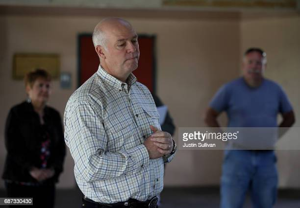 Republican congressional candidate Greg Gianforte pauses as he speaks to supporters during a campaign meet and greet at Lions Park on May 23 2017 in...