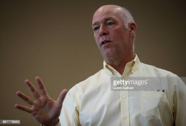 Republican congressional candidate Greg Gianforte speaks to supporters during a campaign meet and greet at Lambros Real Estate on May 24 2017 in...