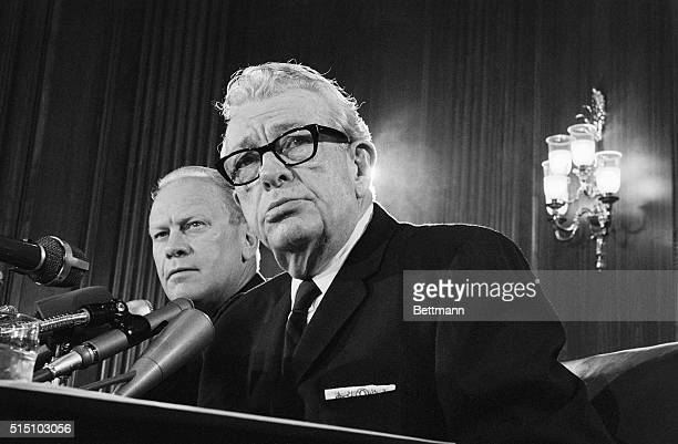 Republican Congressional leaders went on record today against the tax on travel as proposed by President Johnson Here House GOP Leader Gerald R Ford...