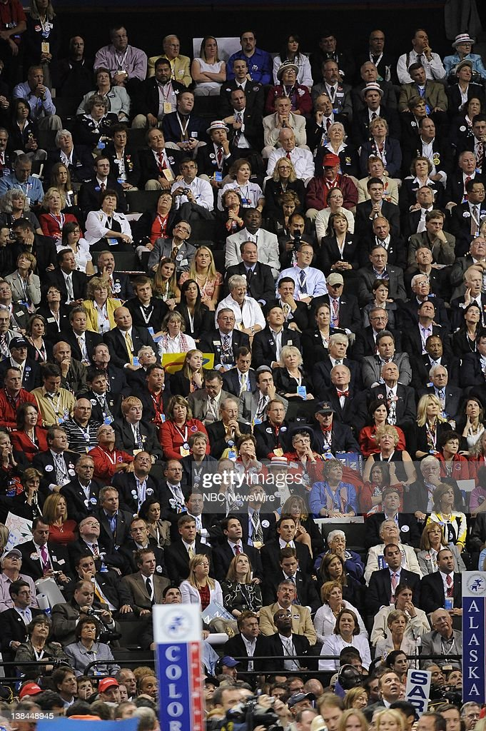 Day 3 Pictured after Governor of Alaska and Vice Presidential nominee Sarah Palin's address to the audience during the 2008 Republican Convention in...
