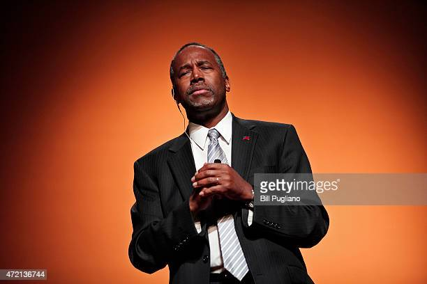 Republican Dr Ben Carson a retired pediatric neurosurgeon speaks as he officially announces his candidacy for President of the United States at the...