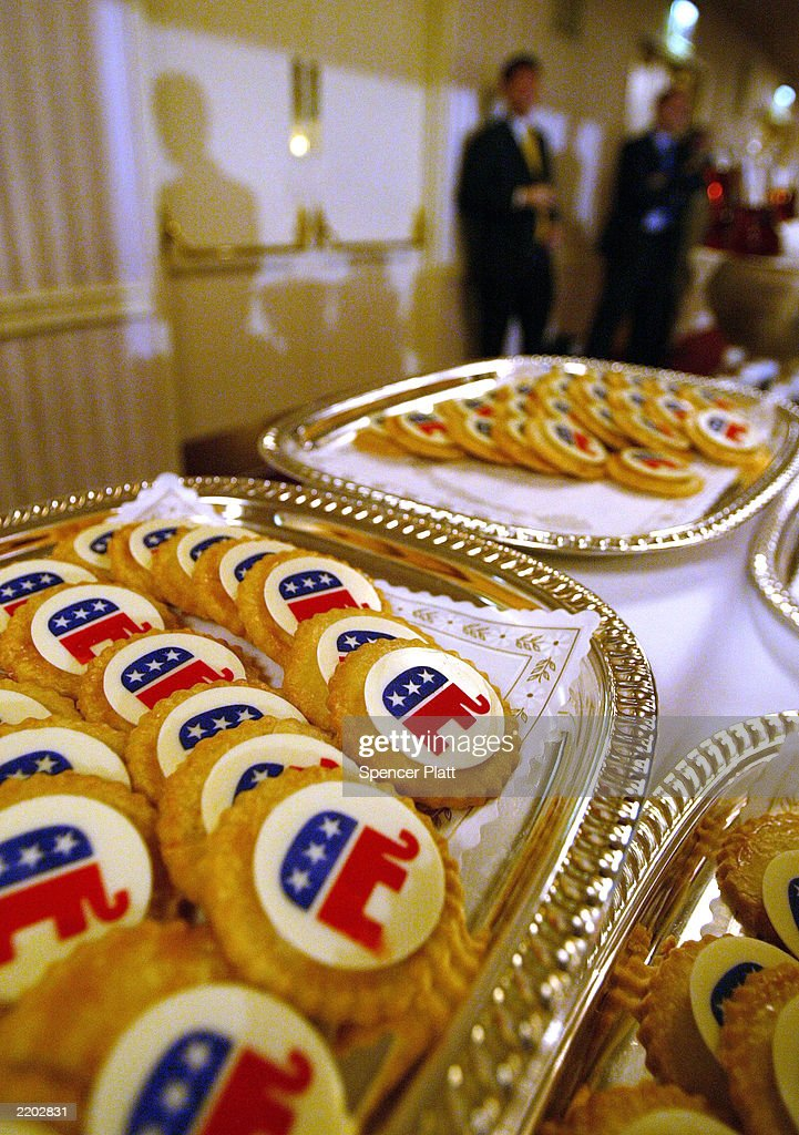 Republican elephant cookies sit on a table at the Republican National Committee summer meeting July 25 2003 at the Waldorf Astoria in New York City...