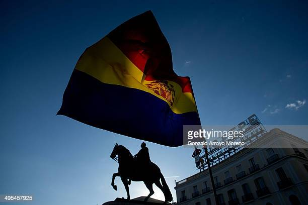 A republican flag flys near Carlos the Third of Spain sculpture and well known Tio Pepe wine advert during a meeting to plan a referendum strategy...