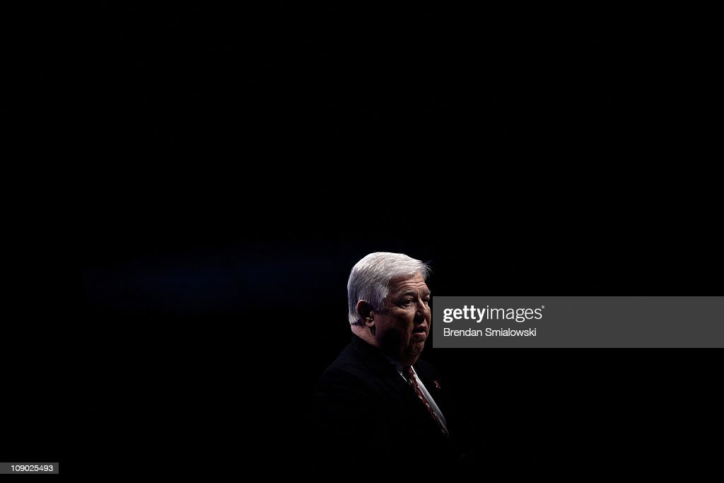 Republican Gov. <a gi-track='captionPersonalityLinkClicked' href=/galleries/search?phrase=Haley+Barbour&family=editorial&specificpeople=638626 ng-click='$event.stopPropagation()'>Haley Barbour</a> of Mississippi speaks during the final day of the American Conservative Union's Conservative Political Action Conference (CPAC) February 12, 2011 in Washington, DC. Conservative political activists and potential political candidates gathered for the annual event to speak about politics, the current Congress and the upcoming 2012 presidential elections.