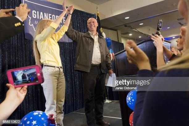 Republican Greg Gianforte scelebrates with supporters after being declared the winner at a election night party for Montana's special House election...