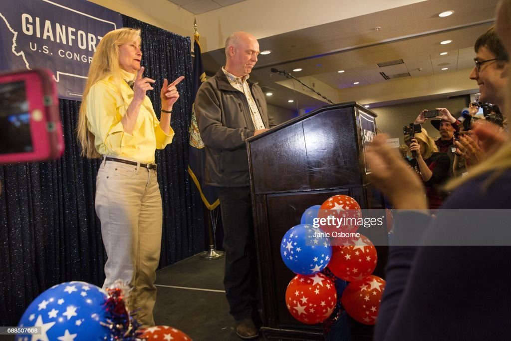 Republican Greg Gianforte speaks to supporters after being declared the winner at a election night party for Montana's special House election against Democrat Rob Quist at the Hilton Garden Inn on May 25, 2017 in Bozeman, Montana. Gianforte won one day after being charged for assaulting a reporter. The House seat was left open when Montana House Representative Ryan Zinke was appointed Secretary of Interior by President Trump on May 25, 2017 in Bozeman, Montana.