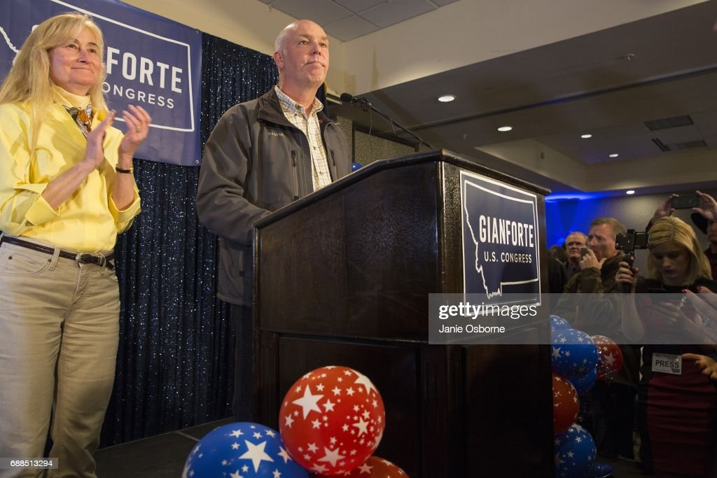 Republican Greg Gianforte speaks to supporters after being declared the winner at a election night party for Montana's special House election against Democrat Rob Quist at the Hilton Garden Inn on May 25, 2017 in Bozeman, Montana. Gianforte won one day after being charged for assaulting a reporter. The House seat was left open when Montana House Representative Ryan Zinke was appointed Secretary of Interior by President Trump
