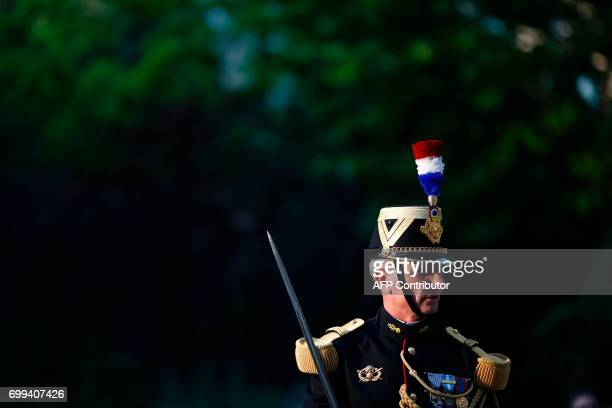 A Republican Guard is pictured during the official handover ceremony of the French defence minister at the Hotel de Brienne in Paris on June 21 2017...