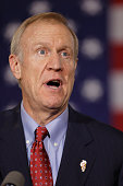 Republican gubernatorial candidate Bruce Rauner declares victory during his election night gathering while incumbent Democratic Gov Pat Quinn is yet...