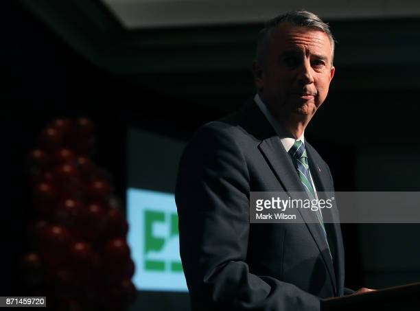 Republican gubernatorial candidate Ed Gillespie speaks at an election night rally on November 7 2017 in Richmond Virginia Gillespie was projected to...