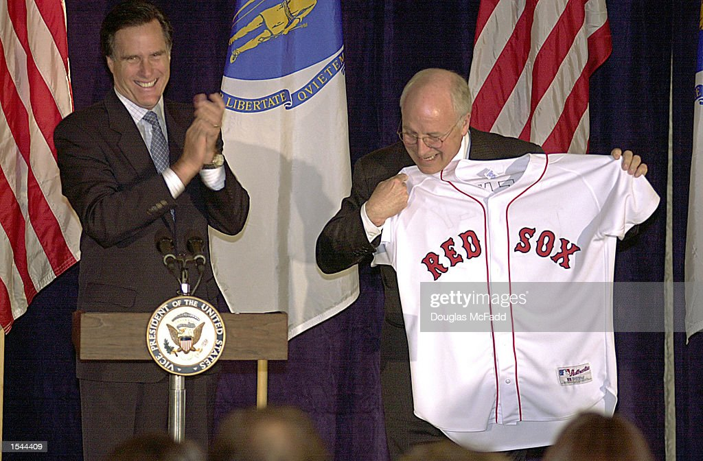 Republican gubernatorial candidate Mitt Romney presents Vice President Dick Cheney (R) with a Red Sox jersey at a GOP fundraiser May 21, 2002 in Boston, MA. Vice President Cheney was in town to endorse Mitt Romney's Massachusetts gubernatorial campaign.
