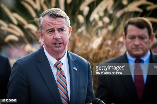 Republican gubernatorial nominee Ed Gillespie speaks to the media during a press conference at the Fairfax County Government Center on Thursday...