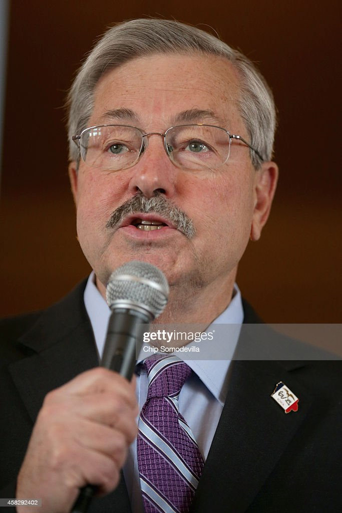 Republican Iowa Gov. <a gi-track='captionPersonalityLinkClicked' href=/galleries/search?phrase=Terry+Branstad&family=editorial&specificpeople=985886 ng-click='$event.stopPropagation()'>Terry Branstad</a> speaks during a campaign stop at the Amtrak Osceola Train Depot November 2, 2014 in Osceola, Iowa. A Des Moines Register poll published November 1, put Ernst seven points ahead of her opponent, Rep. Bruce Braley (D-IA), three days before the election. During a November 1, conference call, U.S. Senate Majority Leader Harry Reid (D-NV) told progerssive activists 'If we win Iowa, we're going to be just fine. Iowa is critical.'
