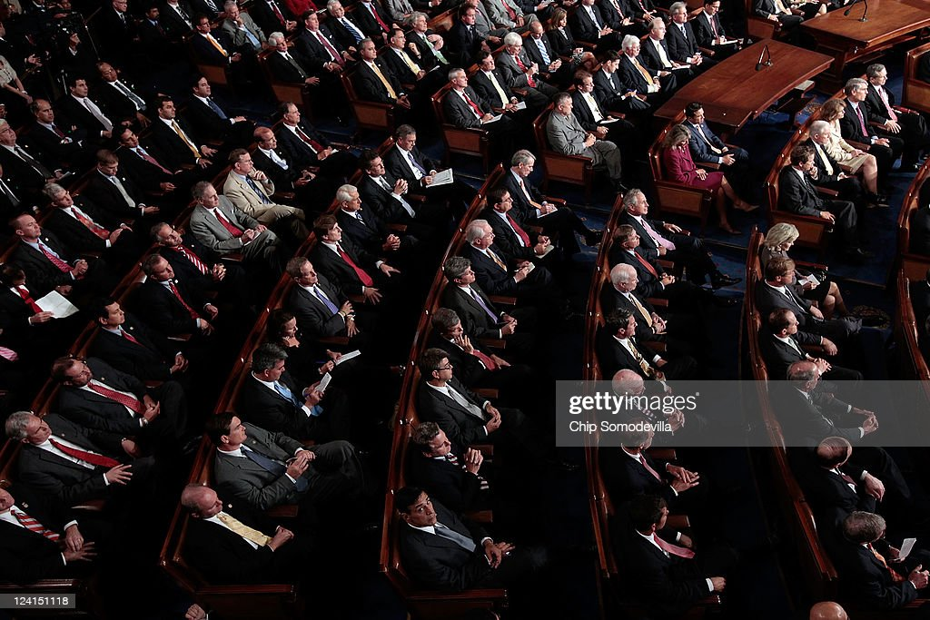 Republican members of Congress listen as U.S. President Barack Obama addresses a Joint Session of Congress at the U.S. Capitol September 8, 2011 in Washington, DC. Obama addressed both houses of the U.S. legislature to highlight his plan to create jobs for millions of out of work Americans.