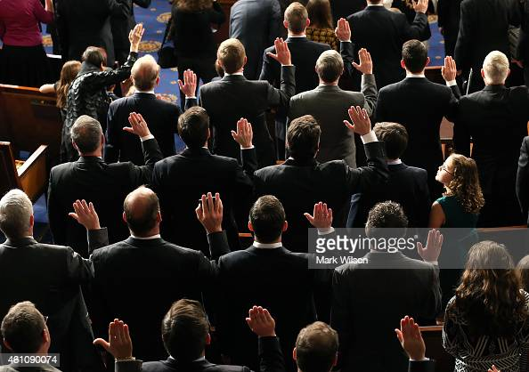 Republican members of the 114th Congress are sworn in at the US Capitol January 6 2015 in Washington DC Today Congress convened its first session of...