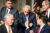 Republican members of the Senate Foreign Relations Committee from left Sen Cory Gardner RColo Sen Ron Johnson RWisc chairman Bob Corker RTenn Sen...