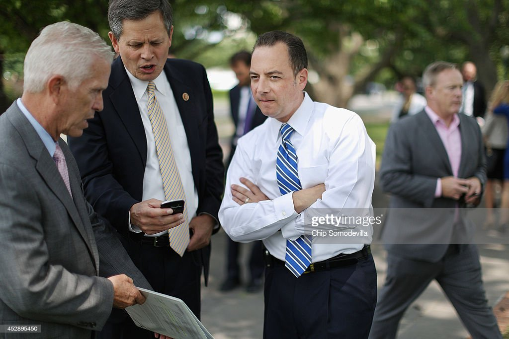 Republican National Committee Chairman <a gi-track='captionPersonalityLinkClicked' href=/galleries/search?phrase=Reince+Priebus&family=editorial&specificpeople=7419119 ng-click='$event.stopPropagation()'>Reince Priebus</a> (C) joins GOP members of Congress to call for Senate Majority Leader Harry Reid (D-NV) to be 'fired' before a rally outside the U.S. Capitol July 29, 2014 in Washington, DC. Priebus said that Reid could be 'fired' from his leadership position if the GOP were to take control of the Senate in this fall's midterm elections.