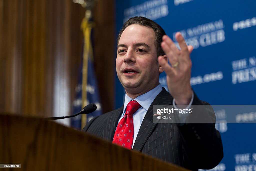 Republican National Committee Chairman <a gi-track='captionPersonalityLinkClicked' href=/galleries/search?phrase=Reince+Priebus&family=editorial&specificpeople=7419119 ng-click='$event.stopPropagation()'>Reince Priebus</a> speaks at the National Press Club on the forward strategy of the Republican Party on Monday, March 18, 2013.