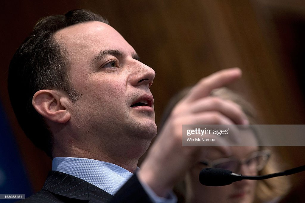 Republican National Committee Chairman Reince Priebus speaks at the National Press Club March 18, 2013 in Washington, DC. During his remarks on a recent 'autopsy' held by the RNC on its shortcomings in the 2012 presidential campaign, Priebus announced a series of recommendations including fewer presidential debates, an earlier national convention, and community outreach programs in addition to other new initiatives.