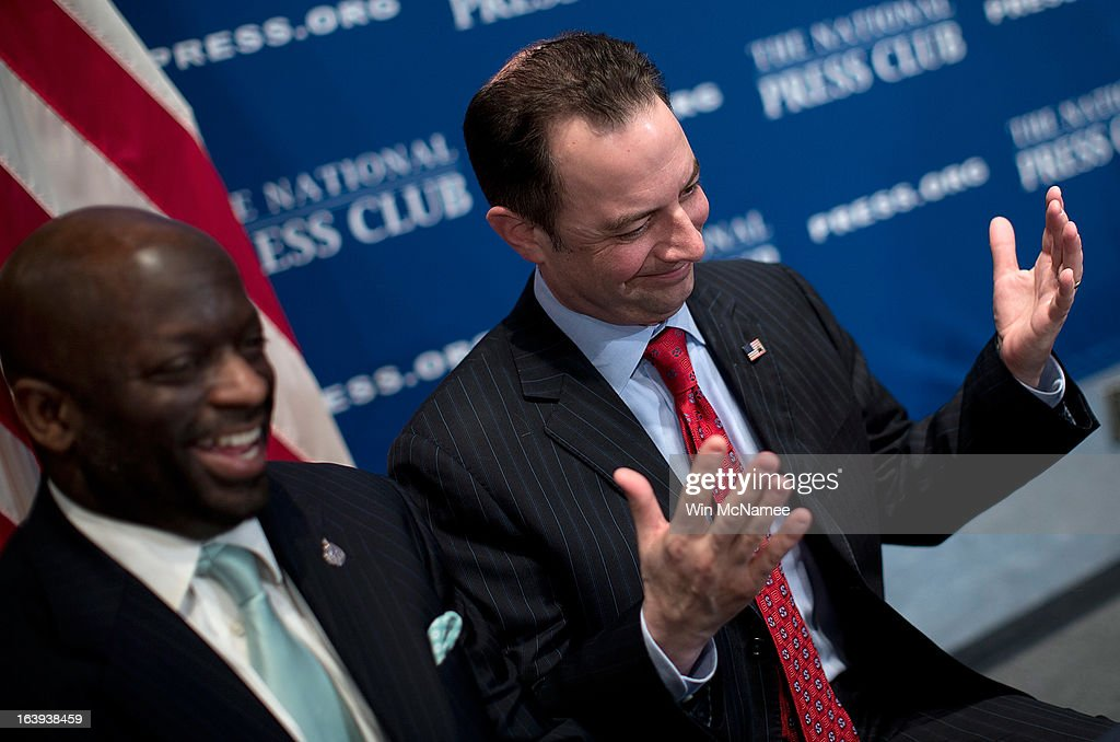 Republican National Committee Chairman Reince Priebus (R) talks with members of the press after speaking at the National Press Club March 18, 2013 in Washington, DC. During his remarks on a recent 'autopsy' held by the RNC on its shortcomings in the 2012 presidential campaign, Priebus announced a series of recommendations including fewer presidential debates, an earlier national convention, and community outreach programs in addition to other new initiatives.