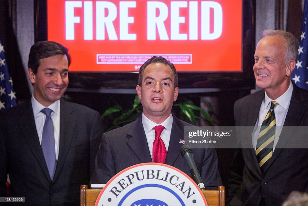 Republican National Committee leadership, L to R, Former Puerto Rican Governor Luis Fortuno, RNC Chairman <a gi-track='captionPersonalityLinkClicked' href=/galleries/search?phrase=Reince+Priebus&family=editorial&specificpeople=7419119 ng-click='$event.stopPropagation()'>Reince Priebus</a>, and Sen. <a gi-track='captionPersonalityLinkClicked' href=/galleries/search?phrase=Jerry+Moran&family=editorial&specificpeople=861327 ng-click='$event.stopPropagation()'>Jerry Moran</a> (R-KS), speak during a press conference to discuss the results of yesterday's midterm elections, which resulted in GOP leadership of the Senate, on Capitol Hill November 5, 2014 in Washington D.C. Republicans won the majority of the US Senate for the first time in 8 years after Americans went to the polls and voted in the mid-term elections.