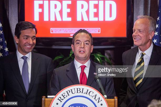 Republican National Committee leadership L to R Former Puerto Rican Governor Luis Fortuno RNC Chairman Reince Priebus and Sen Jerry Moran speak...