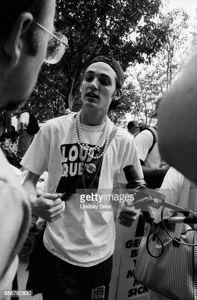 1992 Republican National Convention Protests ACT UP activist speaks out for gay rights to protest the Republican Party and the American government's...