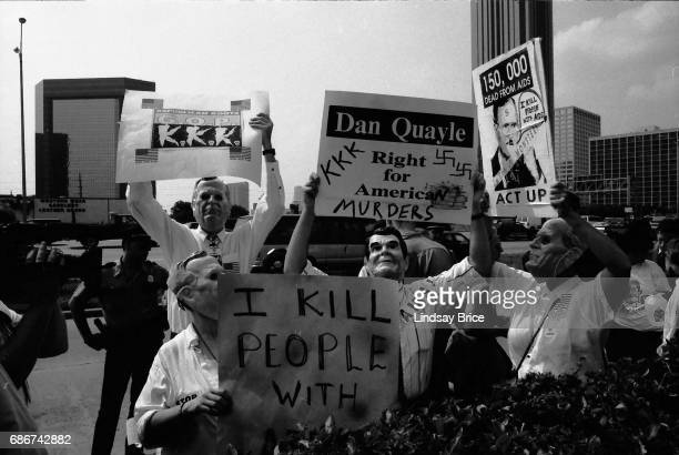 1992 Republican National Convention Protests ACT UP activists wearing masks in the images of Ronald Reagan and George HW Bush protest the Republican...