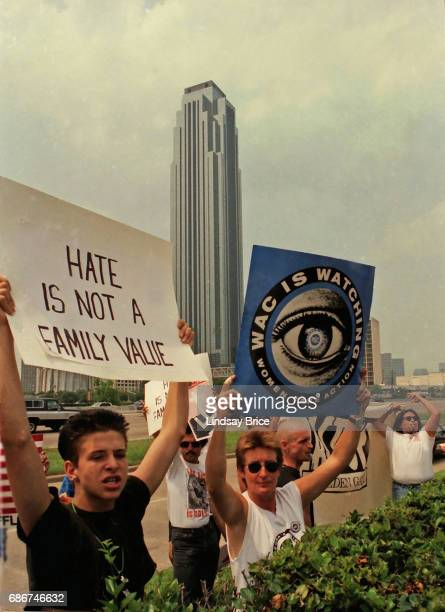 1992 Republican National Convention Protests Feminist directaction organization Women's Action Coalition demonstrate for gay rights for women's...