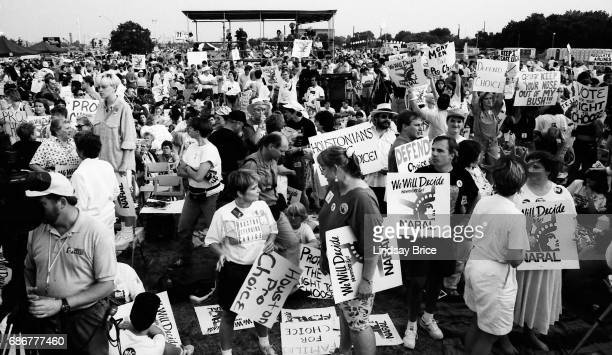 1992 Republican National Convention Protests National Organization for Women Rally for Choice in a grassy field next to the Astrodome the GOP...