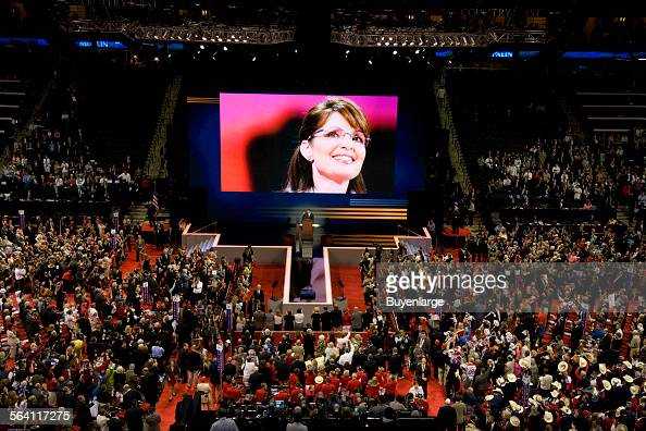 Republican National Convention September 14 2008 Vice Presidential candidate Sarah Palin on the big screen at the convention St Paul Minnesota