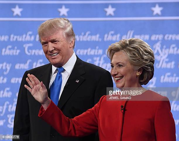 Republican nominee Donald Trump and Democratic nominee Hillary Clinton arrive for the first presidential debate at Hofstra University in Hempstead...
