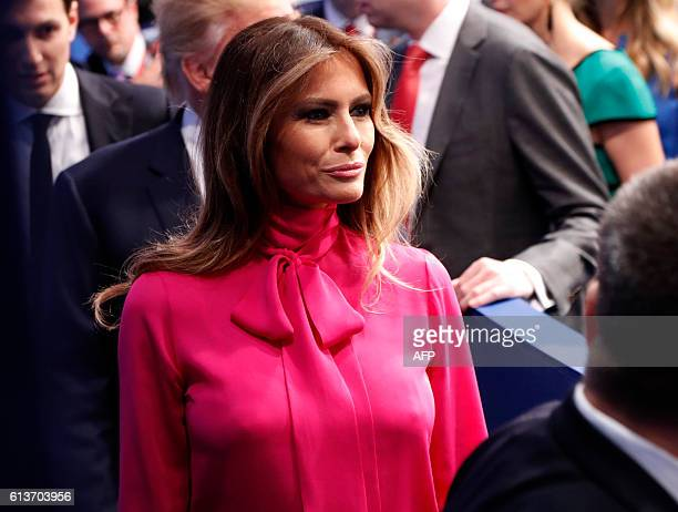 Republican nominee Donald Trump's wife Melania Trump walks away after the second presidential debate at Washington University in St Louis Missouri on...