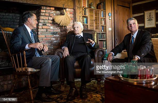 Republican nominee for President Governor Mitt Romney meets with Reverend Billy Graham and son Franklin Graham at the Graham home on the top of a...