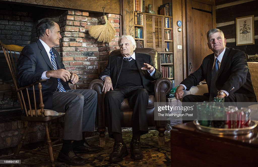 Republican nominee for President Governor Mitt Romney meets with Reverend Billy Graham, and son, Franklin Graham, at the Graham home on the top of a high ridge in Montreat, North Carolina, Thursday, October, 11, 2012.