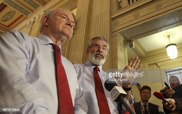 Republican party Sinn Fein leader Gerry Adams and Deputy First Minister Martin McGuinness speak to the media at the Parliament Buildings the seat of...