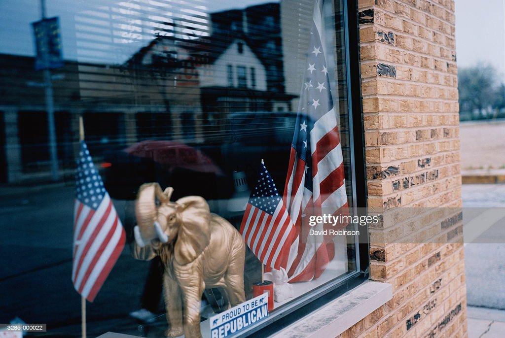 Republican Party Window : Stock Photo