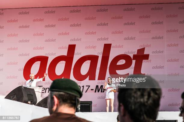 Republican People's Party leader Kemal Kilicdaroglu arrives in Istanbul as supporters gather during a rally in the Maltepe district of Istanbul on...
