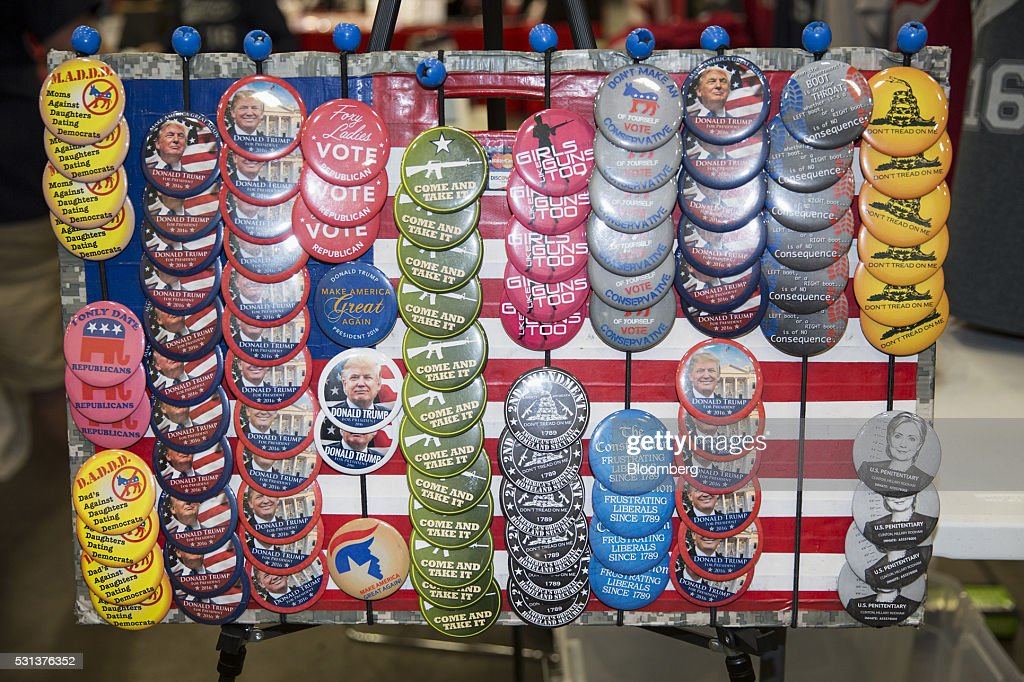 Republican political buttons are displayed for sale during the 2016 Texas Republican Convention in Dallas Texas US on Saturday May 14 2016 Paul Ryan...