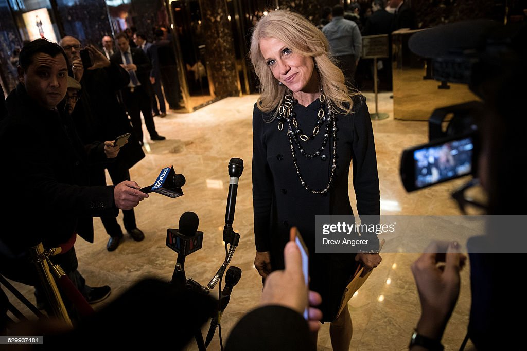 Republican political strategist Kellyanne Conway speaks with reporters in the lobby at Trump Tower, December 15, 2016 in New York City. President-elect Donald Trump and his transition team are in the process of filling cabinet and other high level positions for the new administration.
