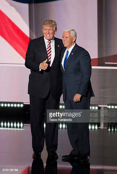 Republican presdential candidate Donald Trump and Indiana Governor MIke Pence take the stage on the third day of the Republican National Convention...