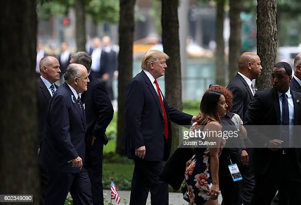 Republican presidental nominee Donald Trump and former New York City mayor Rudy Giuliani arrive at September 11 Commemoration Ceremony at the...