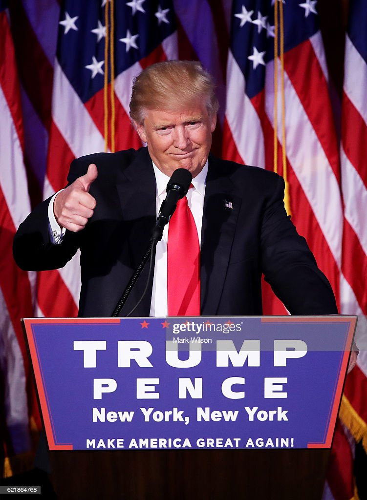 Republican president-elect Donald Trump gives a thumbs up to the crowd during his acceptance speech at his election night event at the New York Hilton Midtown in the early morning hours of November 9, 2016 in New York City. Donald Trump defeated Democratic presidential nominee Hillary Clinton to become the 45th president of the United States.