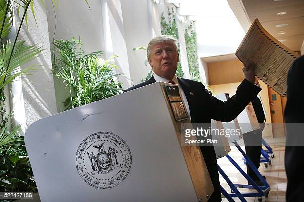 Republican Presidential andidate Donald Trump votes at his local polling station in New York's primary on April 19 2016 in New York City Trump is...