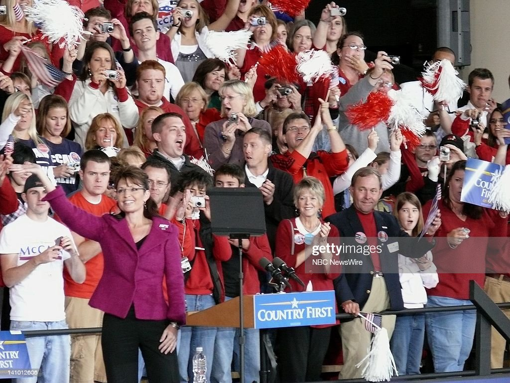 NBC NEWS Republican Presidential Campaign Pictured Governor and Vice Presidential nominee Sarah Palin speaks to a crowd of supporters in Noblesville...